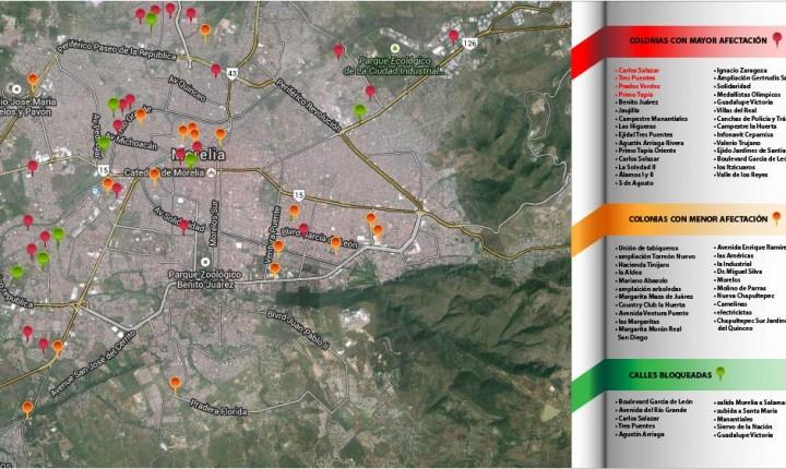 Decenas de vialidades cerradas y 32 colonias afectadas en Morelia