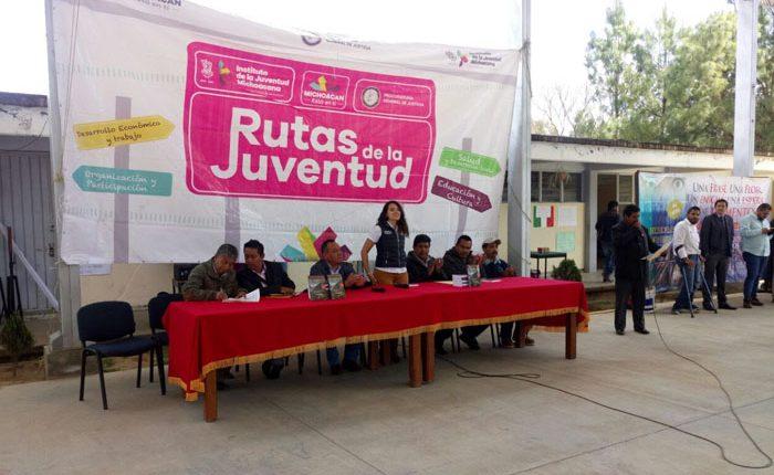 Realizan Rutas de la Juventud en la comunidad de Aranza